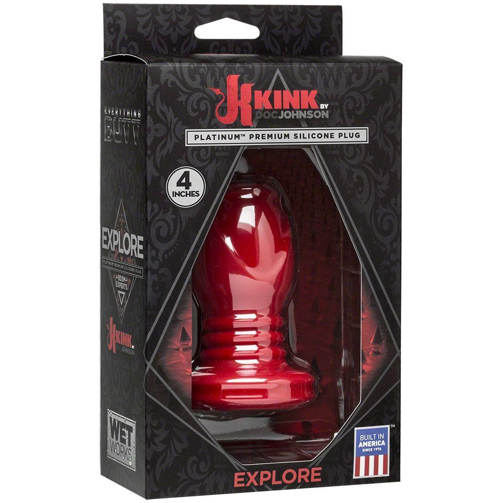Doc Johnson KINK Wet Works Explore Platinum Premium Silicone Plug Red